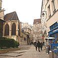 rue des Barres et Eglise St Gervais (IVe), vue générale