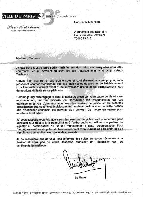 Gravilliers la trinquette lettre maire IIIe