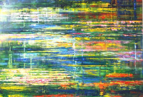 Mirka Seroin - Grande mare jaune et verte_huile sur toile